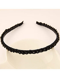 Pretty Black Beads Decorated Weave Design  Alloy Hair band hair hoop