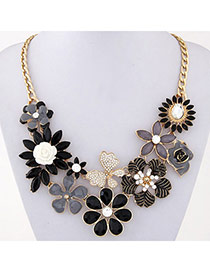Luxury Black Gemstone Decorated Flower Design