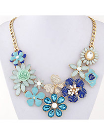 Luxury Blue Gemstone Decorated Flower Design