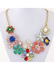 Luxury Multicolor Gemstone Decorated Flower Design