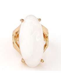 Fashion White & Gold Color Gemstone Decorated Oval Shape Design  Alloy Korean Rings