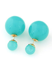 Candy Color  Lake Blue Round Shape Decorated Simple Design  Alloy Stud Earrings