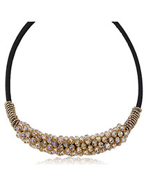 Magnificent Champagne Color Beads Decorated Weace Design Alloy Korean Necklaces