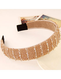 Joker Champagne Color Beads Decorated Simple Design Imitation Crystal Hair band hair hoop