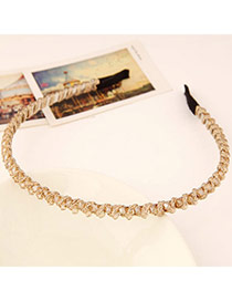 Fashion Champagne Color Diamond Decorated Weave Design  Alloy Hair band hair hoop