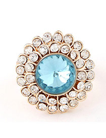 Sweet Sky Blue Diamond Decorated Round Shape Design  Alloy Korean Rings