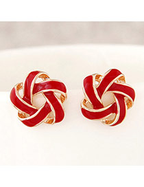 Trendy Red Flower Shape Decorated Simple Design Alloy Stud Earrings