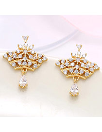 Luxury Champagne Gold Diamond Decorated Crown Shape Design  Zircon Stud Earrings