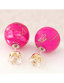 Candy Color Plum Red Round Shape Decorated Simple Design Alloy Stud Earrings