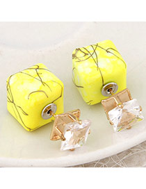 Luxury Yellow Gemstone Decorated Square Shape Design