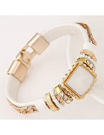 Joker White Diamond Decorated Square Shape Design Alloy Korean Fashion Bracelet