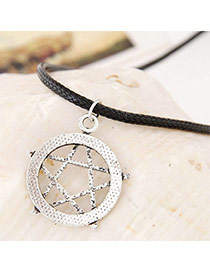 Lucky Silver Color Star Shape Pendant Simple Design Alloy Beaded Necklaces