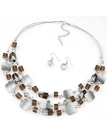 Bohemia Brown Gemstone Decorated Square Shape Multilayer Design  Alloy Jewelry Sets
