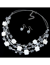 Bohemia White Gemstone Decorated Square Shape Multilayer Design  Alloy Jewelry Sets