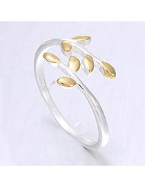 Korean Silver & Gold Color Leaf Decorated Simple Design Cuprum Korean Rings
