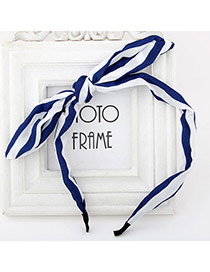 Elegant Navy Blue Stripe Pattern Simple Design Fabric Hair band hair hoop