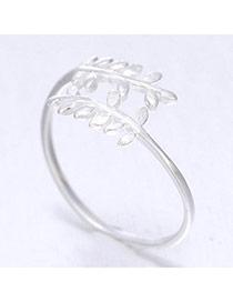Sweet Silver Color Leaf Shape Simple Design  Cuprum Korean Rings