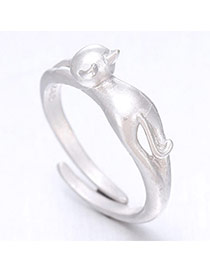 Romantic Silver Color Cat Shape Simple Design  Cuprum Korean Rings