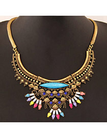 Retro Multicolor Gemstone Decorated Simple Design Alloy Bib Necklaces