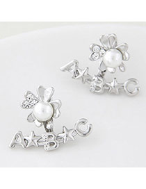 Personalized Silver Color Letter Decorated Flower Design