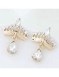 Trendy Gold Color Diamond Decorated Crown Shape Design Alloy Stud Earrings