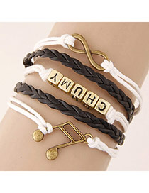 Retro White Metal Musical Notation Shape Decorated Multilayer Design Alloy Korean Fashion Bracelet