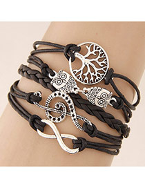 Retro Coffee Metal Owl Shape Decorated Multilayer Design