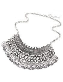 Ethnic Silver Color Coins Tassel Decorated Fan Shape Design Alloy Bib Necklaces