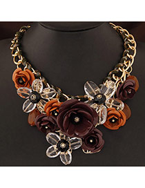 Extravagant Coffee&dark Yellow Flower Pendant Decorated Short Chain Design
