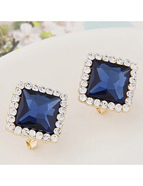 Exquisite Dark Blue Gemstone Decorated Square Shape Design  Alloy Stud Earrings
