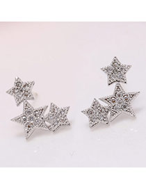 Exquisite Gold Color Diamond Decorated Leaf Shape Design(anti-allergy) Cuprum Stud Earrings