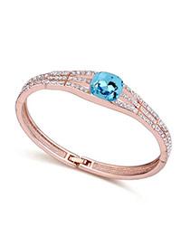 Exquisite Navy Blue Artificial Stone Decorated Simple Design  Cuprum Crystal Bracelets