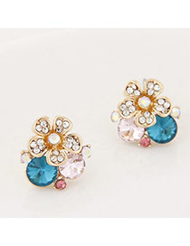 Exquisite Green Diamond Decorated Flower Shape Design Alloy Stud Earrings