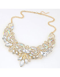 Fashion White&gold Color Diamond Decorated Simple Design Alloy Bib Necklaces