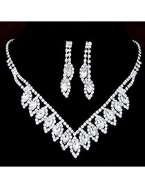 Shiny Silver Color Diamond Decorated Simple Design  Alloy Jewelry Sets