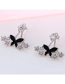 Bardian Silver Color Butterfly Flower Decorated Simple Design(anti-allergy) Cuprum Stud Earrings