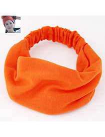 Casual Orange Pure Color Wide Simple Design  Fabric Hair band hair hoop