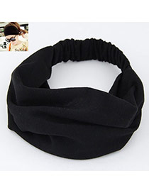 Casual Black Pure Color Wide Simple Design  Fabric Hair band hair hoop