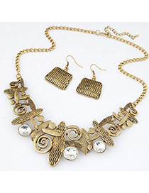 Retro Bronze Diamond Decorated Geometrical Shape Design Alloy Jewelry Sets