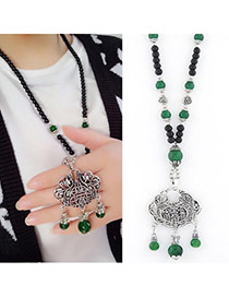 Fashion Dark Green Beads Decorated Locl Shape Pendant Design Alloy Bib Necklaces
