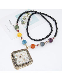 Fashion White Beads Decorated Rhombus Shape Pendant Design Alloy Bib Necklaces