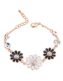 Sweet White+black Flower Decorated Simple Design  Alloy Fashion Bracelets