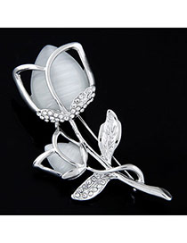 Exquisite Light Green Diamond Decorated Hollow Out Flower Design  Alloy Korean Brooches