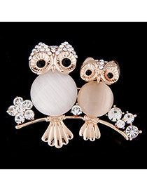 Exquisite White Diamond Decorated Owl Shape Design  Alloy Korean Brooches