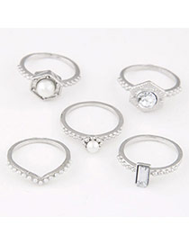 Exquisite Silver Color Diamond & Pearl Decorated Simple Design Alloy Korean Rings