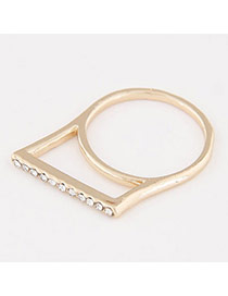 Personalized Gold Color Diamond Decorated Geometric Shape Design  Alloy Korean Rings