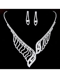Bling White Diamond Decorated Leaf Shape Design  Alloy Jewelry Sets
