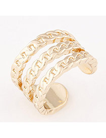 Personalized Gold Color Chains Pattern Opening Design  Alloy Korean Rings