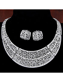 Trendy Silver Color Flower Pattern Deocrated Hollow Out Design  Alloy Jewelry Sets