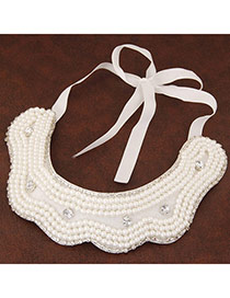 Trendy White Pearl Decorated Simple Design Fabric Detachable Collars